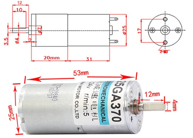 12V 100RPM 30:1 0.65kgfcm DC Gear Motor 5W dimension